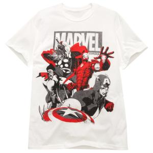Vintage Team Up Marvel Heroes Tee for Men