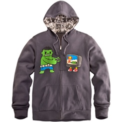 ''Game Over'' Hulk and Iron Man Hoodie for Men by Tokidoki